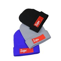 Wholesale curling hat for sale - Group buy Autumn Winter Keep Warm Beanie Female Sleeve Head Hat SUP Brand Letter Embroidery Wool Cap Blue Red Edge Curl hc C1