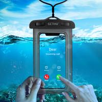 ingrosso coperture subacquee samsung-Custodia per telefono impermeabile per iPhone X Xs Max Xr 8 7 Cover per Samsung S9 Custodia protettiva per telefono cellulare a tenuta stagna in PVC trasparente