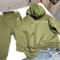erkek 6t pantolon toptan satış-ücretsiz kargo Giyim 2pcs Boys and Girls eşofman Çocuklar Kapşonlu Sweatshirt Casual Pullover ve Pant Set