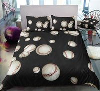 Wholesale black 3d bedding set resale online - Baseball King Size Bedding Set Black Energetic D Simple Duvet Cover Queen Home Dec Single Double Bed Set With Pillowcase