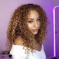 tops de seda negro mujer al por mayor-180 Density Afro Kinky Curly Blonde # 27 Cabello humano Top de seda Pelucas delanteras de encaje completo para mujeres negras Entradas naturales