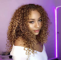 Wholesale mongolian blonde kinky wigs resale online - 180 Density Afro Kinky Curly Blonde Human Hair Silk Top Full Lace Front Wigs For Black Women Natural Hairline