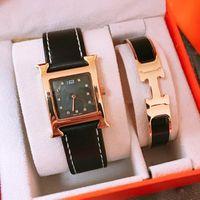 ingrosso braccialetti di modo migliori-New Fashion Herm 2Pcs Womens Luxury Watch and Bracelet Gift Set Top Quality Brand Designer Orologi al quarzo Miglior regalo per l'amante