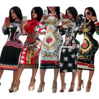 balançoire jupe longueur genou robes achat en gros de-Femmes Designer Dress Stretch Robe De Fête De Luxe Skinny Designer Club Porter Magnifique Multi-style Bodycon Imprimé Floral Femmes Marque Vêtements