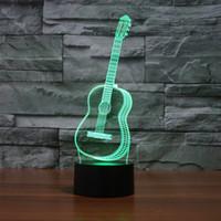 гитарный ночник оптовых-Гитара Night Light Новинка Продукт Творческий Красочный 3D Настольная Лампа Визуальный Стерео Акриловый Сенсорный Ночник