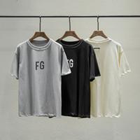 черные серые майки для мужчин оптовых-2019 хип-хоп Fear Of God 6th FG Logo Негабаритные Черно-серая футболка Скейтборд Классная футболка FOG Мужчины и женщины Хлопковая футболка с коротким рукавом