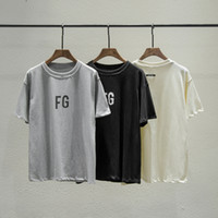 camisas grises negras para hombres al por mayor-2019 Hip Hop Fear Of God 6th FG Logo Oversize Black Grey Camiseta Skateboard Cool TShirt FOG Hombres y mujeres Camiseta de algodón de manga corta