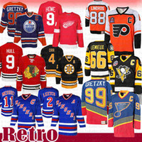 Wholesale 88 Eric Lindros Mario Lemieux Wayne Gretzky Hockey Jersey Patrick Roy Brian Leetch Mark Messier Bobby Orr Bobby Hul Gordie Howe