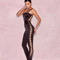 seksi tek parça bayan tulumları toptan satış-Saten Bandaj Tasarım Tulumlar Bayan Ince Siyah Tulum Spagetti Kayışı Tek parça Uzun Pantolon Seksi Backless Tulumlar