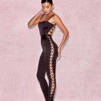 frauen lange overalls großhandel-Satin Bandage Design Overalls Womens Slim Black Jumpsuit Spaghetti Strap einteilige lange Hosen Sexy rückenfreie Overalls