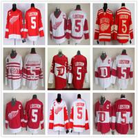 patches vintage achat en gros de-Vintage CCM Detroit Red Wings # 5 Nicklas Lidstrom Jersey Hockey 2016 Accueil Rouge Vintage Hiver Classique Blanc Nicklas Lidstrom Maillots C Patch