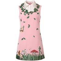 ingrosso vestito rosso collared bianco-Red RoosaRosee Green Floral Embroidery Diamond Bead Luxury Pink Dress Donna Summer White Collar Mini Party Holiday Lady Vestidos
