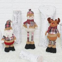 Wholesale Santa Claus Retractable Doll Kids Christmas Cloth Snowman Deer Toys New Year Xmas Birthday Party Gifts