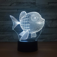 ingrosso interruttori di luce art deco-Art Deco Fish 3D LED Night Light 7 colori Touch Switch Led Lights Plastic Lampshape 3D USB Powered Night Light Atmosphere Novità Illuminazione