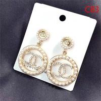 freie perlen großhandel-Heißer Entwerfer-volle Rhinestone- / volle Perlen-Buchstabe-Quasten-Ohrringe für Frauen arbeiten asymetrische Bolzen-Ohrring-Schmucksache-Geschenke um Freies Verschiffen