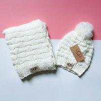 Wholesale white woolen hats resale online - Top Quality Celebrity design Letter Printing Woolen Scarf Cap Set Men Woman Cashmere Scarf hat pc PETIT DAMIER