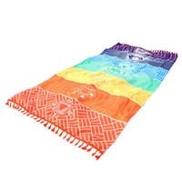 ingrosso materiale yoga mats-7 Chakra Rainbow Stripes Asciugamano da spiaggia con arazzo Tessuto in microfibra Materiale Boemia India Tappeto Mandala Tappetino da bagno Yoga Asciugamano