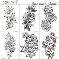 tatuagens rosa para mulheres venda por atacado-IORIKYO Pulseira Preta Flora Tatuagem Temporária Adesivos Mulheres Arte Corporal Flor Transferência De Água Braço Tatoo Meninas Falso Rose Tattoo