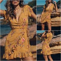 ingrosso vestiti casuali gialli più il formato-Nuovi vestiti delle donne vestiti aderenti manica corta sopra i vestiti estivi floreali allentati del ginocchio plus-size giallo abito boho ruffle