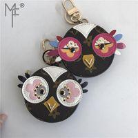 Wholesale owl leather bag for sale - Group buy Magicfur Cute Owl Real Fur Chick Charm Leather Mini Coin Cards Keys Holder Purse Zipper Pocket Bag Keychain Holder Pendant MX190816