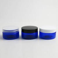 blaue kosmetik creme gläser flaschen großhandel-24 x 100g leere blaue kosmetische Sahnebehälter Cremetiegel 100cc 100ml für Kosmetikverpackungen