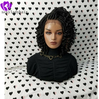 Wholesale pink ombre synthetic hair braiding resale online - New black Braided Lace Frontal wig natural Box Braids With Curly Tips long kinky curly braids lace wig with baby hair for women