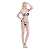 двухкомпонентный бикини оптовых-Womens Sexy Two Piece Bikini Set Detachable Spaghetti Straps Bra Low Waist Thong Irregular Stripes Printed Swimsuit Black White