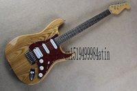 guitare électrique couleur bois naturel achat en gros de-Corps libre Strato roulette 6 cordes Guitare Électrique Naturel nord-est frêne corps couleur bois Guitare