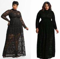 ingrosso abiti da sera arabi per le donne-Plus Size Abiti da sera in pizzo nero 2019 Vintage maniche lunghe arabo modesto abbigliamento donna spedizione gratuita FS5346