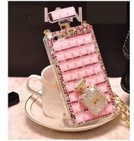 parfüm telefon kapağı toptan satış-IPhone 6 s 7 7 artı 8 8 artı x xs Parfüm Şişesi Elmas Cep Telefonu Kapak İpi Durumda samsung için Rhinestone Cep Telefonu Kılıfı