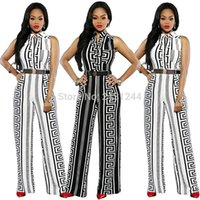 Wholesale african styles dresses resale online - new style African Women clothing Dashiki fashion Print elastic cloth sleeveless jumpsuits dress