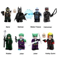 блоки бэтмена оптовых-DC Super Hero Building Blocks Bane Batman Mister Замораживание Catwoman Риддлер Joker Harley Quinn Mini фигурку Игрушка