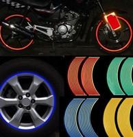 pegatina reflectante raya rueda al por mayor-18 pulgadas de la motocicleta RIM raya rueda calcomanía etiqueta engomada de la motocicleta reflectante pegatinas de la rueda etiqueta engomada de la cinta del coche KKA6508
