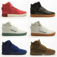 Wholesale tubular invader strap resale online - 2019 New Tubular Invader Strap Kanye West Mens Sports Running Shoes For Black Brown Blue Fashion Outdoors Training Sneakers Size