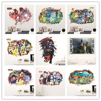 autocollants muraux pour hommes en fer achat en gros de-détail New Kids 3d papier peint décor à la maison stickers muraux iron man animal de compagnie elfe TV fond d'écran images kid chambre décorations murales