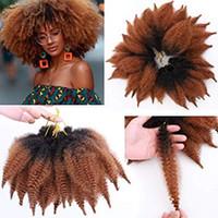 afro kinky curl saç uzantıları toptan satış-8 Inç Ombre Marley Örgüler Saç Afro Kinky Kıvırcık Marley Kıvırmak Büküm Örgü Saç Uzantıları Kanekalon Sentetik Büküm Tığ Saç