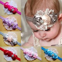 Wholesale lace bands for hair resale online - Rose Flower Headbands Diamond Rhinestone Lace Hair Band For Kids Children Photography Props Elastic Party Christmas Baby Girl cd D1