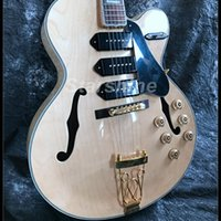 Wholesale electric guitars for sale - Group buy JX FH10 Hollow Body Electric Guitar P90 Pickups Gold Hardware Maple Top Grover Tuner Jazz Guitar nature Color