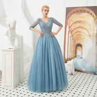 сильно бисерные платья выпускного вечера оптовых-Скромное Вечернее Платье с V-образным Вырезом и Половиной Рукавом Вечернее Платье с Бисерами