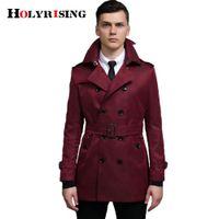 ingrosso uomini britannici di soprabito-Gli uomini del cappotto di trincea sottile di modo Windbreaker doppio bottone Giacche Cappotto Uomo panno rosso British Style Overwear # 18.246-5