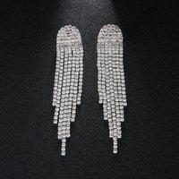 nedime altın gümüş küpeler toptan satış-Yeni Bohemia Gümüş Renk Kristal Alaşım Püskül Kadınlar Bırak Küpe Düğün Gelin Nedime Dangle Küpe JCC071