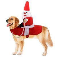 unisex katzenanzug großhandel-Pet Reiten Anzug Weihnachtsmann Zubehör Katze Halloween Kostüme Hunde lustig und nett mit rückseitiger Dekoration für Unterhaltung und Feste