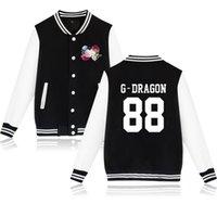 ingrosso stile bigbang-BIGBANG kpop moda fiore stampa hip hop stile uomo donna giacca da baseball casuale manica lunga con cappuccio giacche felpa cappotto top