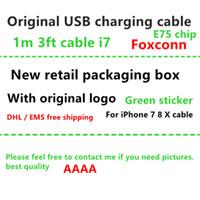 iphone 5s çip toptan satış-Yeni ambalaj kutusu Foxconn 100% Hakiki Orijinal 1 m 3ft E75 Çip Veri USB şarj Kablosu iphone X 8 7 6 6 s artı 5 s yeşil etiketli