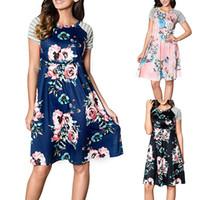 frau kurzes kleid krankenschwester großhandel-2019 Mutterschaft Pflege Kleid Floral Mom Kleider Kurzarm Homewear Baumwolle Damen Kleidung Sommer Großhandel