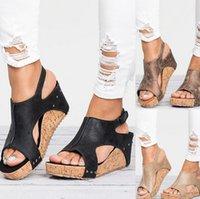 sandalias de cuña de plataforma romana al por mayor-Sandalias de diseño para mujer sandalias de pescado Moda romana de tacón alto plataforma impermeable de cuero sandalias