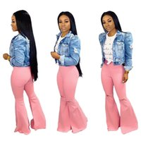 jeans feitos à mão venda por atacado-A3109 cross-border e-commerce 2019 moda high-end senhoras artesanais buraco buraco de alta cintura calças chifre jeans 619
