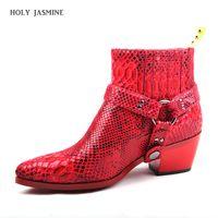 talons gris pour les femmes achat en gros de-2019 nouvelle peau de serpent bout pointu femmes bottines python imprimer talon chunky bottes martin gris rouge botas mujer glissement sur le cow-boy