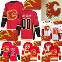Wholesale drill s for sale - Group buy Calgary Flames Jersey Hot drilling Mark Giordano Johnny Gaudreau Sean Monahan Customize any number any name hockey jerseys
