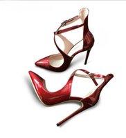 couro j marca venda por atacado-Mulheres de verão J C Marca de sapatos com tira cruzada no tornozelo Mulheres Fino Salto Alto Sexy Couro Envernizado Super Alta Nudez Preto sapatos femininos